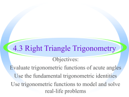Right Triangle Trigonometry - Warren County Public Schools