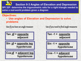 9-3 PPT Angles of Elevation and Depression