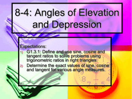 8-4: Angles of Elevation and Depression