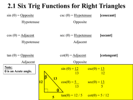 Trigonometry (Chapter 9)