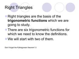 Right Triangles and the Trigonometric Functions