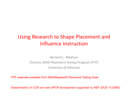 Using Research to Influence Placement and Instruction