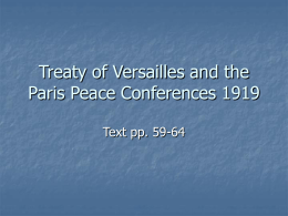 Treaty of Versailles and the Paris Peace Conferences 1919