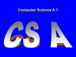 Computer Science A, 1