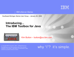 Introducing... The IBM Toolbox for Java