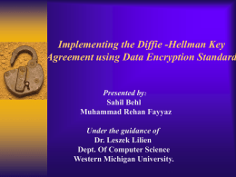 Implementing the Diffie-Hellman Key Agreement using Data
