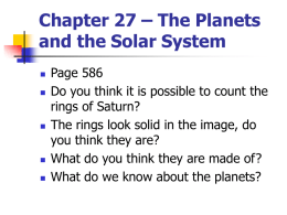 Chapter 27 – The Planets and the Solar System