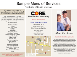 Menu of Services example - Healthcare Consulting Services