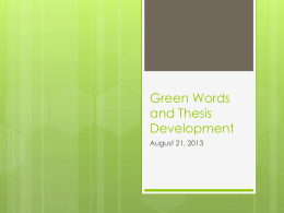 Green Words and Thesis Development