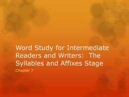 Word Study for Intermediate Readers and Writers: The