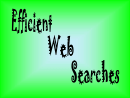 Efficient Web Searches - Shelby County Schools