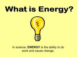 1 - Energy - Conservation of Matter