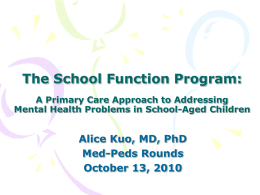 The School Function Program: A Primary Care Approach