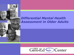 Differential Mental Health Assessment in Older Adults