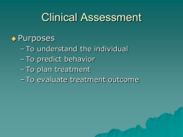 Clinical Assessment Issues