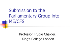 Submission to the Parliamentary Group into ME/CFS
