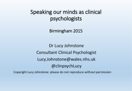 Lucy Johnstone: Speaking our minds as clinical psychologists