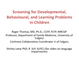 Screening for Developmental and Behavioral Problems in Children