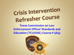 Crisis Intervention Refresher Course