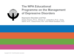Depressive Disorders and Pain - World Psychiatric Association