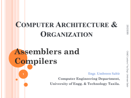 CSE 431. Computer Architecture - University of Engineering and