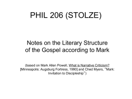 Notes on Mark and Discipleship