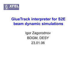 GlueTrack interpreter for S2E beam dynamic simulations