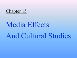 Cultural Approaches to Media Research