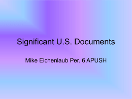 Significant U.S. Documents