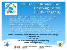 Status of the Beaufort Gyre Observing System (BGOS