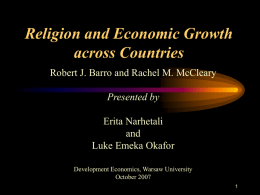 Paper Review on Religion and Economic Growth across Countries
