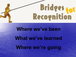 Concluding Remarks of Bridges for Recognition - Salto