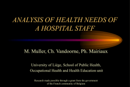 analysis of health needs of a hospital staff