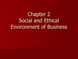 Chapter 2 Social and Ethical Environment of Business