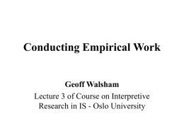 Conducting Empirical Work