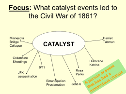 Focus: What catalyst events led to the Civil War of 1861?