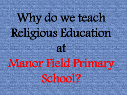 Religious Festivals - Manor Field Primary School