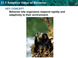 27.1 Adaptive Value of Behavior