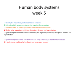 Human body systems week 5