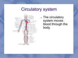 Circulatory system The circulatory system moves blood through the