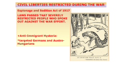 Espionage and Sedition Act of 1917 LAWS PASSED THAT