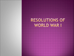 Resolutions of World War I