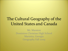 The Cultural Geography of the United States and