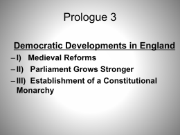 Democratic Developments in England Prologue Section 3