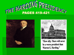 The Harding Presidency pages(419-421)