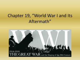 Chapter 19, *World War I and Its Aftermath