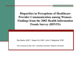 Findings from the 2003 Health Information Trends Survey (HINTS)
