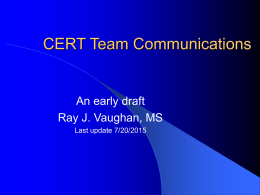 CERT Team Communication - Ray Vaughan's Web Site