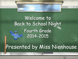 Fourth Grade Back to School Night
