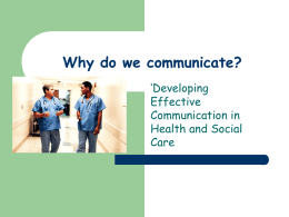 Why do we communicate?